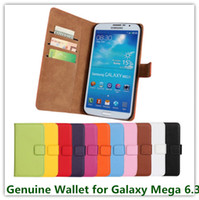 Wholesale Galaxy Mega Leather - 11 Colors Genuine Leather Stand Leather Wallet Cover Case for Samsung Galaxy Mega 6.3 i9200 Credit Card Holder Cellphone Bags Free