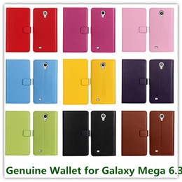 Wholesale Galaxy Mega Leather - 10PCS Fashion Genuine Leather Slot Stand Folio Wallet Pouch Case for Samsung Galaxy Mega 6.3 i9200 Credit Card Holder Free