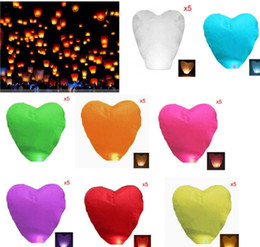 Wholesale Chinese Lamps Fly - Heart-shaped Chinese Flying Sky Lanterns wishing lamp for wedding etc