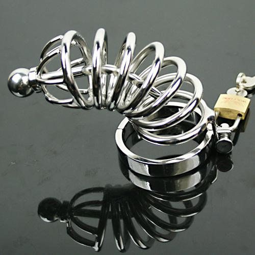 NEW Male Cock Cage Adult sex Toy Bondage Male Chastity Device Stainless Steel Catheterization Urethra Stretching Gay SM Fetish/5 size ring