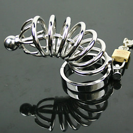 Wholesale Male Bondage Sm - NEW Male Cock Cage Adult sex Toy Bondage Male Chastity Device Stainless Steel Catheterization Urethra Stretching Gay SM Fetish 5 size ring