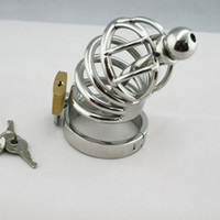 Wholesale trumpet sex resale online - NEW Stainless steel Male Chastity device belt trumpet Cock Cage with Ring lock catheter for SM sex toy bdsm bondage fetish