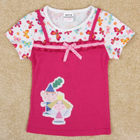 Wholesale Nova Girls T Shirts - little girls tops cartoon Ben and Hollys Little Kingdom applique 2 in 1 floral t-shirt nova 2014 cute summer baby clothes in stock