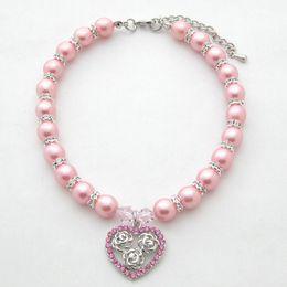 Cane gatto Perle Collana Collare Bling Strass HeartRoses Charm Pendant Handmade Pet Puppy Jewelry 3 taglie 3 colori da
