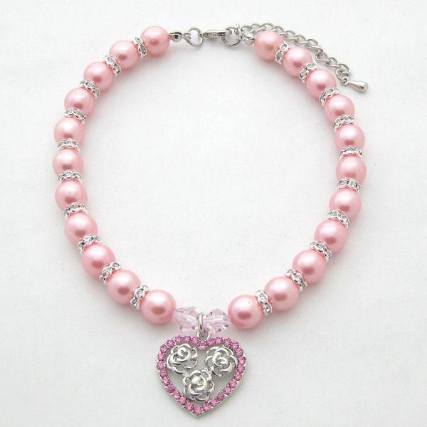 Cane gatto Perle Collana Collare Bling Strass HeartRoses Charm Pendant Handmade Pet Puppy Jewelry 3 taglie 3 colori