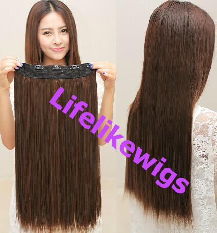 20 One Piece Long Straight Hairstyle Synthetic Hair Clip In Hair