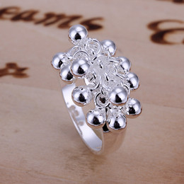 Wholesale Crystal Grape Wholesale - Free Shipping New 925 Sterling Silver fashion jewelry Grape beads ring hot sell girl gift 994
