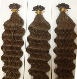 Wholesale Stick I Tip Wholesale - Retails 100 Stands 0.5g 0.7 1g 16''-22'' Stick I tip Deep Wavy Prebonded Indian Remy Human Hair Extensions Blonde Black Brown TOP QUALITY
