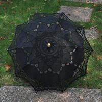 Wholesale Wholesale Black Lace Parasol - Black Lace Parasol Sun Umbrella Ribbon Parasol Umbrella Wedding Bridal umbrella bridal accessories