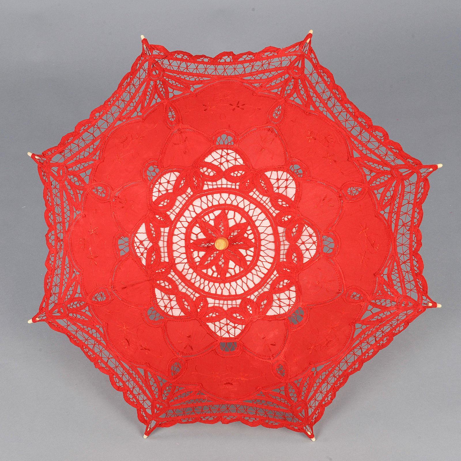 hot-sale-lace-parasol-sun-umbrella-ribbon Unique De Promo Parasol Schème