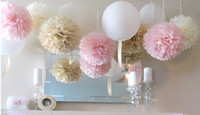 Wholesale Hot Tissue - Hot Sale!50pcs Tissue Paper Pom Poms Paper Lantern Pom Pom Blooms Flower Balls 6 8 10 12 14inches Multi-color Options
