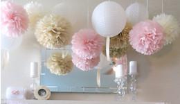 Wholesale Hot Tissue - Hot Sale!50pcs Tissue Paper Pom Poms Paper Lantern Pom Pom Blooms Flower Balls 6 8 10 12 14inches Multi-color Options