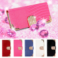 Wholesale Diamond Case For Galaxy S4 - MAGNETIC DIAMOND WALLET LEATHER FLIP PHONE CASE COVER FORFor iPhone 4 4S 5 5S SAMSUNG GALAXY S3 S4 S5 Note 2 3 1 Piece
