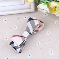 Wholesale China Headdresses - America and Europe pop plaid ornaments headdress Fashion double bow tie clip Women's hair accessories