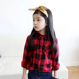 Wholesale Korean Kids Cloths - 2014 Spring Autumn Fashion Children's Clothes Girls 100% Cotton Collar Long Sleeve Plaid Shirts Red Black Kids Korean Girl Cloth K0204