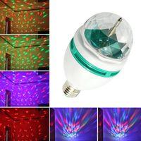 Wholesale Led Bulb Rgb Disco - RGB Full Color 3W E27 LED Bulb Crystal Auto Rotating Stage Effect DJ Disco Light Bulb Mini laser party Stage Light