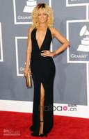 Wholesale Evening Dress Slit Design - 2014 black chiffon sexy new design Grammy Awards Slits Sexy Black Deep V-neck Sleeveless Full Length evening Dresses Rihanna