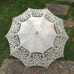Wholesale Wholesale Lace Parasol Umbrellas - Hot sale! Lace Parasol Sun Umbrella Ribbon Parasol Umbrella Wedding Bridal umbrella Fans & Parasols bridal accessories