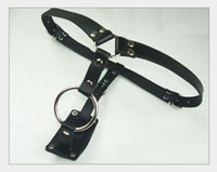 Wholesale chastity pants harness - Male Fixing Leather stainless steel Short pant coloclysis pant male chastity device cock penis ring harness belt Adult Sex Toy Products A011