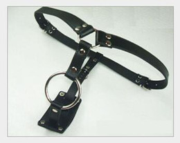 Wholesale Leather Steel Harness Sex - Male Fixing Leather stainless steel Short pant coloclysis pant male chastity device cock penis ring harness belt Adult Sex Toy Products A011
