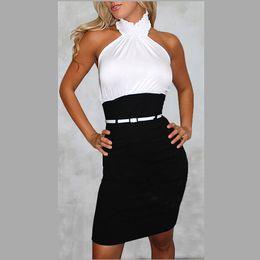 Wholesale Sexy Animal Printed Prom Dresses - Fashion Women Midi Dresses Pencil skirt New Summer Black White Dress Sexy Bodycon Bangage Club Party Prom Dress Casual Halter Dress YQ32