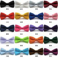 Wholesale Mens Pre Bow Tie - High Quality Solid Color Mens Neck Bowtie BOW TIE Pre-tied Adjustable Imitation Silk Bow Tie Can Choose Color[CA07001*5]
