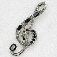 Wholesale musical brooches for sale - Group buy 12pcs Crystal Rhinestone Musical Note Pin Brooch Fashion costume jewelry gift Brooches C283