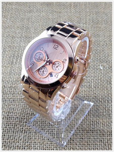 Wholesale DHL EMS NEW luxury M rose gold quartz sport Stainless Steel Men s Watch with calendar opp bag packaging