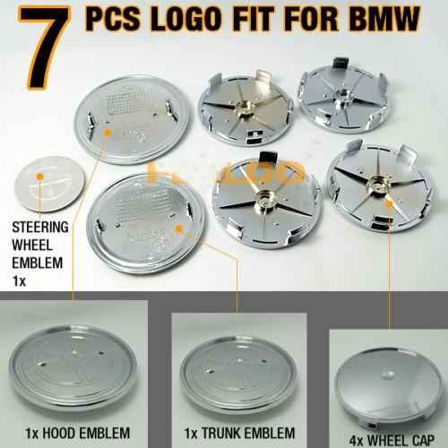 Полный набор из 7 шт. Для M Tech Sport Power Эмблема крышки рулевого колеса переднего заднего колеса Полный черный значок из углеродного волокна для BMW 82мм 74мм 68мм 45мм