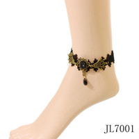 Wholesale Romantic Items - Wholesale-407-Min. order $10(mix items)JL7001 2014 new fashion cheap gothic vintage black lace anklet for girls free shipping