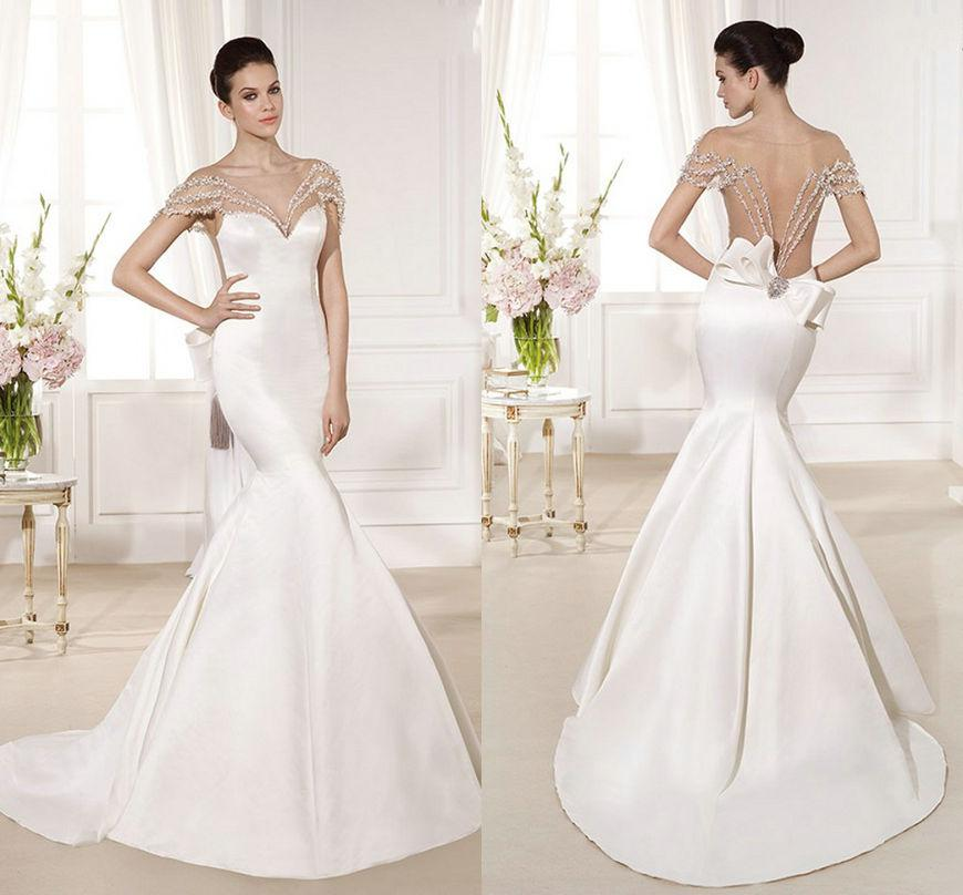 2015 Tarik Ediz Satin Mermaid Wedding Dresses Sweetheart Cut With ...