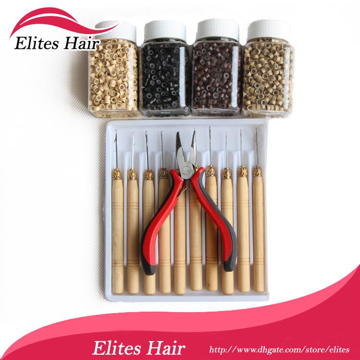 Tool kits for Feathers Extension,1pcs plier+10pcs needles+4000pcs micro ring beads! mix colors FEP001