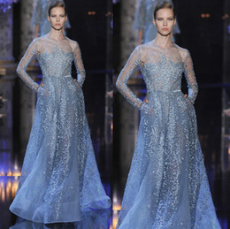 Wholesale elie saab pageant - Newest Elie Saab Couture 2015 Evening Dresses With Crew Long Sleeves Beaded Sheer Back A Line Tulle See Through Prom Pageant Party Gowns