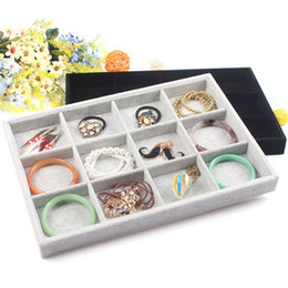 Wholesale Empty Bracelet - Plaid Shop Velvet 12 Grid Bangle Bracelet Storage Box Removable Empty Tray Earring Rings Pendant Jewelry Tray