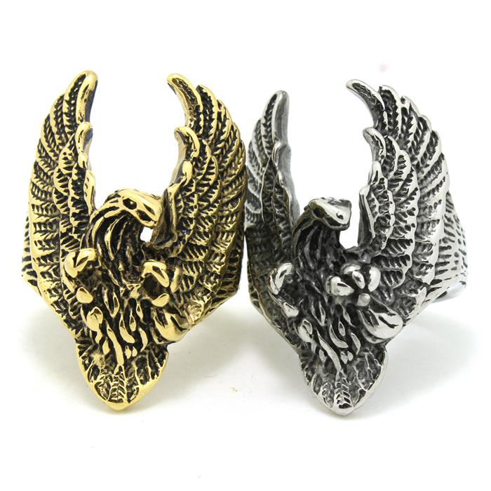 Mens Boys 316L Stainless Steel Newest Cool Punk Gothic Eagle Biker Silver NewestR Ring