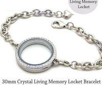 Wholesale Locket Sets - 5pcs 30mm Silver Crystal round Circle Living Memory Locket Bracelet For Floating Charms