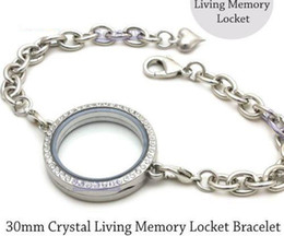Wholesale Chain Memories - 5pcs 30mm Silver Crystal round Circle Living Memory Locket Bracelet For Floating Charms