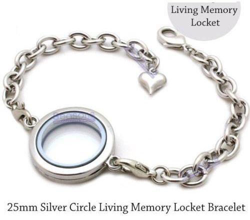 5pcs 25mm Silver plain round Circle Living Memory Locket Bracelet For Floating Charm