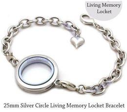 2019 silberne runde armbänder 5pcs 25mm Silber Plain runden Kreis Living Memory Medaillon Armband für schwimmende Charme rabatt silberne runde armbänder