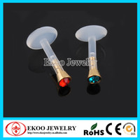 Wholesale Labret Bio - Internal Bio Flexible Labret with Gold Plated Flat Jewel Ball Lip Ring Mixed 8 Colors Lot of 40pcs