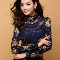 Wholesale Puff Sleeve Lace Top - PLUS S-2X Lace Blouse Shirt Top Long Sleeve Crochet Sheer Chiffon Mix Autumn NWT
