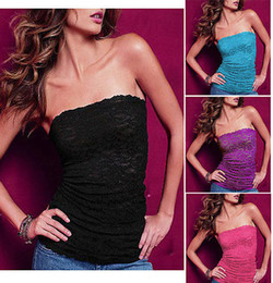 Wholesale Sexy Women Strapless Vest - New 2014 Sexy Women Ladies Strapless Lace Tank Top Sleeveless T-shirt Vest