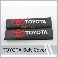 Wholesale Cover Car Shoulder - 1Pair(=2Pcs) Sports Black Carbon Fiber Car Seatbelt Cover Shoulder Pad Pads for TOYOTA Free Shipping