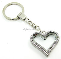 Wholesale 5PCS mm Silver Heart magnetic glass glass locket keychains floating charm locket Zinc Alloy Rhinestone LSFK06