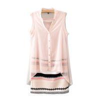 Wholesale Ladies Chiffon Sun Dresses - S5Q V-Neck Casual Sleeveless Button Chiffon Summer Sun Dress For Women Ladies AAADOU