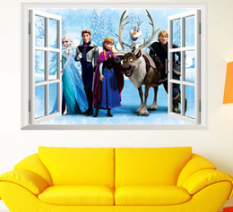 Wholesale Removable Wall Stickers Princess - frozen princess decal removable wall frozen cartoon stickers 3d wallpaper for kids room 3d window stickers wall decor Kids Home Decor