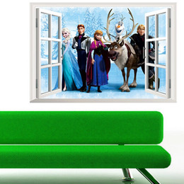 Wholesale Decal Stickers Art Home Decor - Movie Elsa Anna cartoon charactor window wall sticker DIY art vinyl wall stickers decor mural decal removable wall stickers kids home decor