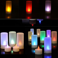 Wholesale Led Sensor Candle - Colorful LED Candle Light Romantic Sound Sensor Lights LED Candle Tea Light Semitransparent Cup Lights Wedding Valentine's Day Light