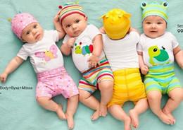 Wholesale Boys Pants Size 3t - 2015 New 100% Cotton Children Mickey Minnie Baby Boys girls sets clothes 1Set=3pcs Long-sleeved Romper+hat+pants children clothing sets