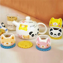 Wholesale Tea Cups Animals - Creative Cartoon Animals Ceramic Teapot and Cups Set Fashion Coffee Kettle and Tea Sets SH1002